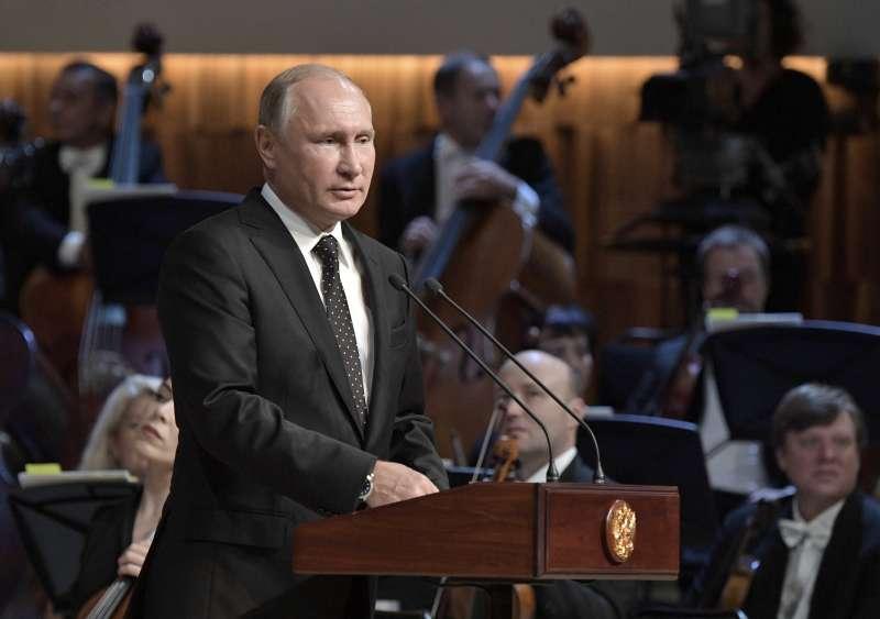 俄羅斯總統普京9日主持莫斯科城市日紀念活動。(AP)