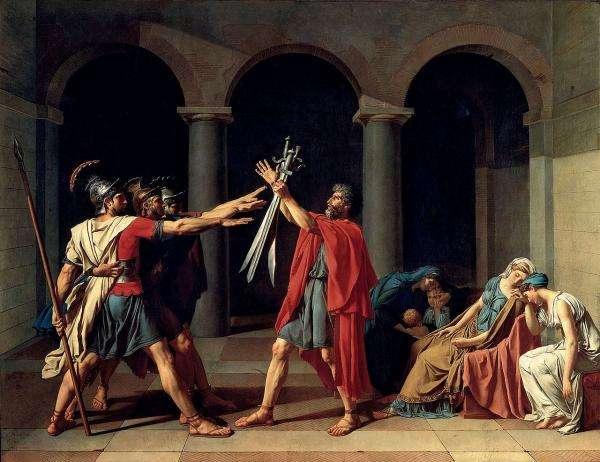 法國畫家雅克-路易•大衛於1784年所繪《賀拉斯兄弟之誓》,現藏於法國羅浮宮。(圖/澎湃新聞提供)