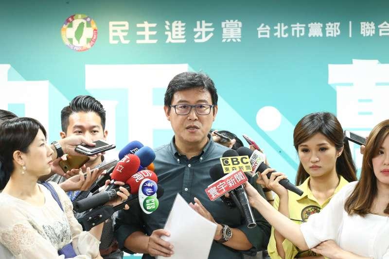 20180911-姚文智民進黨中正萬華區聯合競選記者會。(陳品佑攝)