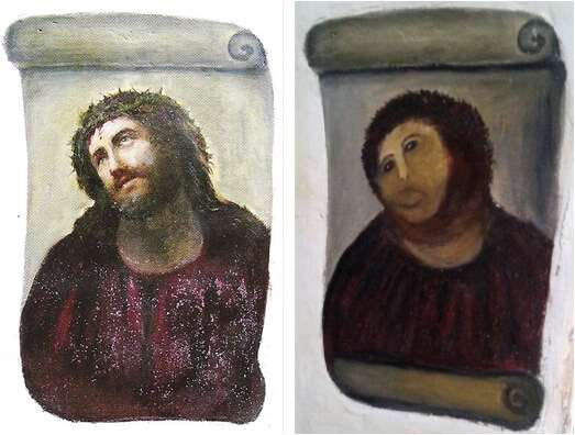 修復前以及修復後的基督壁畫《Ecce Homo》。(圖/非池中藝術提供)