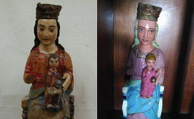修復前以及修復後的聖母瑪利亞及嬰兒耶穌雕像。(圖/取自El Comercio,非池中藝術提供)