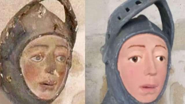 修復前以及修復後的聖喬治雕像臉部。(圖/非池中藝術提供)