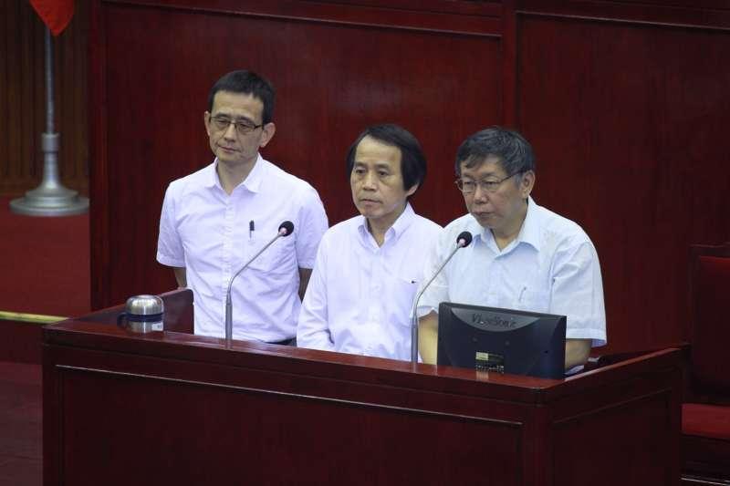 20180913-台北市長柯文哲於台北市議會進行備詢。(方炳超攝)
