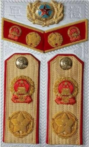 55式軍銜制中的大元帥帽徽、領章及肩章式樣(圖/澎湃新聞提供)