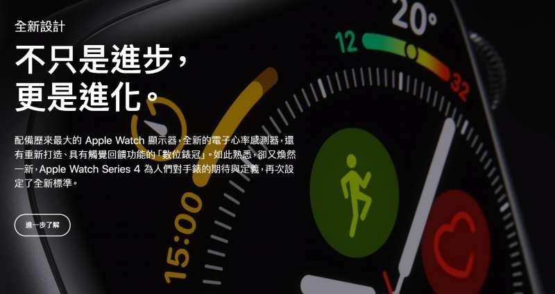 2018年9月12日,蘋果電腦舉行秋季發表會,台灣官方網站介紹Apple Watch Series 4。(蘋果官網)