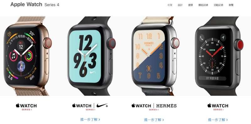 2018年9月12日,蘋果電腦舉行秋季發表會,台灣官方網站列出目前販售的Apple Watch機型。(蘋果官網)