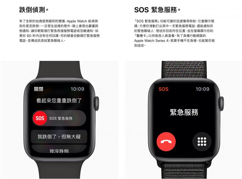 第四代Apple Watch擁有跌倒偵測與SOS緊急服務。(翻攝官網)
