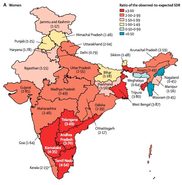 從地圖分佈看來,印度東南部的安得拉邦、卡納塔克邦等地自殺比例偏高。(IHME網站)