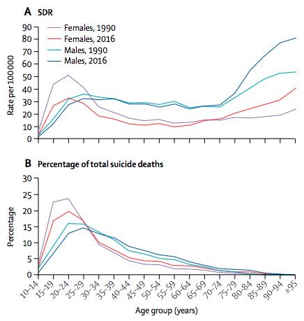 報告中顯示,印度自殺比例曾於1990年代後短暫下降,且以年輕族群為大宗。(IHME網站)