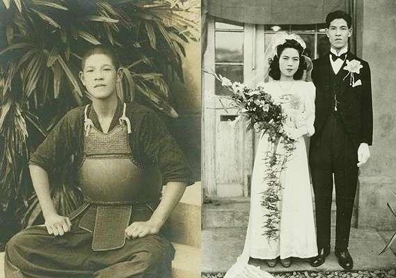 李登輝的青年時代,左為年輕時學習劍道,右為1949年與曾文惠在台灣大學溫州路宿舍前的結婚照(維基百科.公有領域)