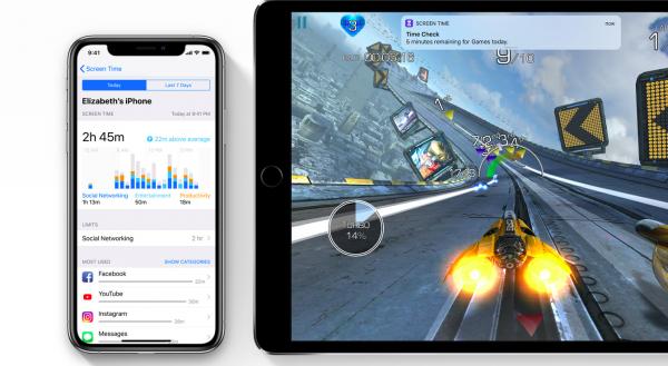 iOS 12會提供螢幕時間使用報告,也會提醒用戶App的使用時間限制已到,阻擋App繼續使用。(圖/Apple,數位時代提供)