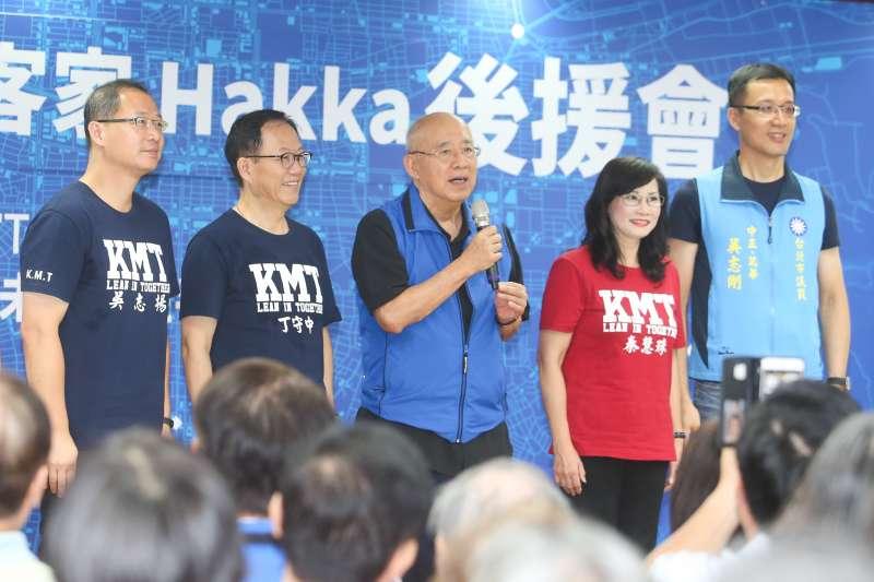 國民黨前主席吳伯雄和兒子吳志揚及吳志剛,出席20180918-台北市市長參選人丁守中客家後援會成立大會。(陳明仁攝)