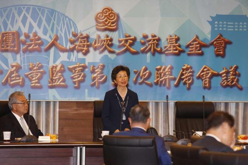 張小月(中)接下海基會董事長的職務,她說自己不會「櫻櫻美代子」。(郭晉瑋攝)