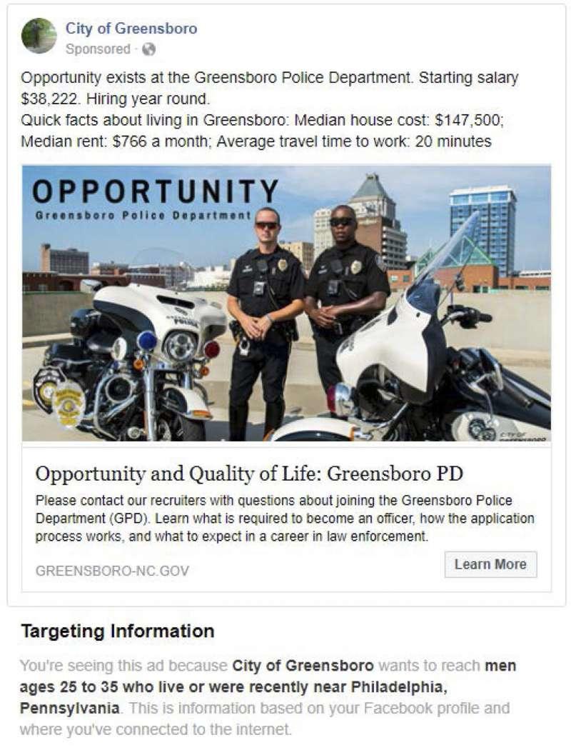 一則刊登於Facebook的警察部門徵才廣告,鎖定居住於費城附近的25-35歲男性。(美聯社)