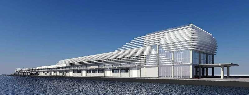 基隆市長林右昌表示,市府推動「市港再生標竿計畫」,包括預計4年內完工的軍港西遷工程,東岸貨櫃場西遷後,將興建第三郵輪轉運中心及新創產業區,外型就像艘郵輪。(基隆市政府提供)