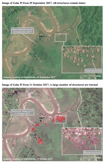 聯合國報告以2017年10月取得的衛星影像,對比羅興亞村落遭緬甸軍方蹂躪前後。(UNHRC)