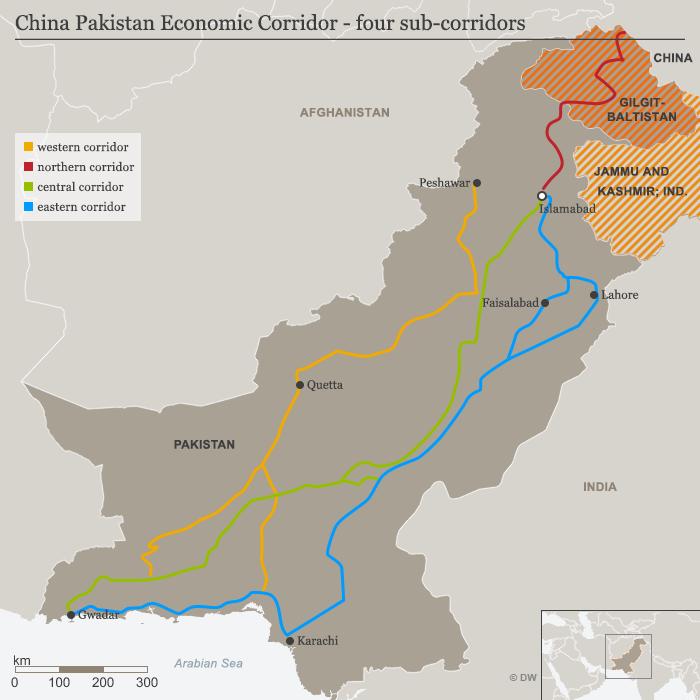 中巴經濟走廊的四個組成部分:西線(黃)、北線(紅)、中線(綠)和東線(藍)。(德國之聲)