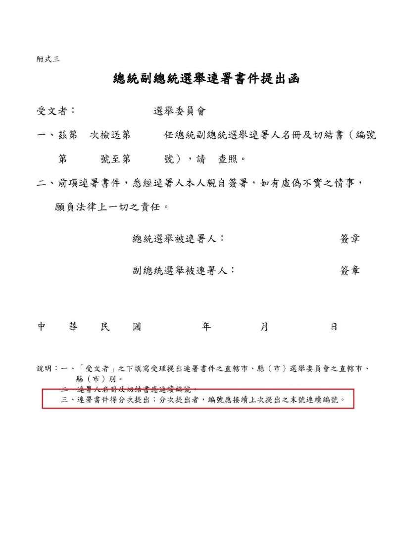 總統副總統選舉聯署書件提出函(作者提供)