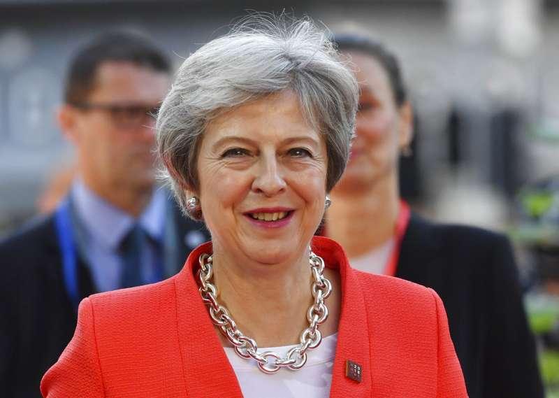2018年9月20日,英國首相梅伊參加薩爾茲堡歐盟高峰會。(AP)