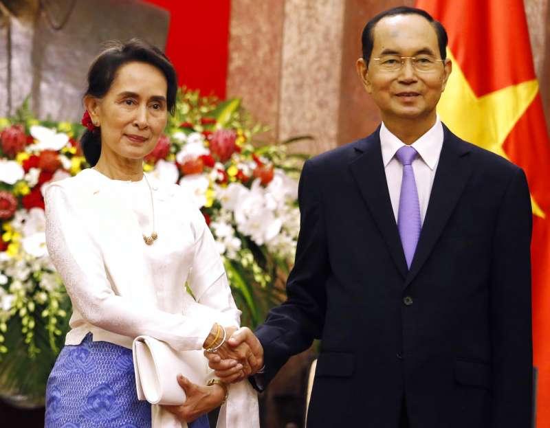 越南國家主席陳大光與緬甸實質領導人翁山蘇姬。(美聯社)