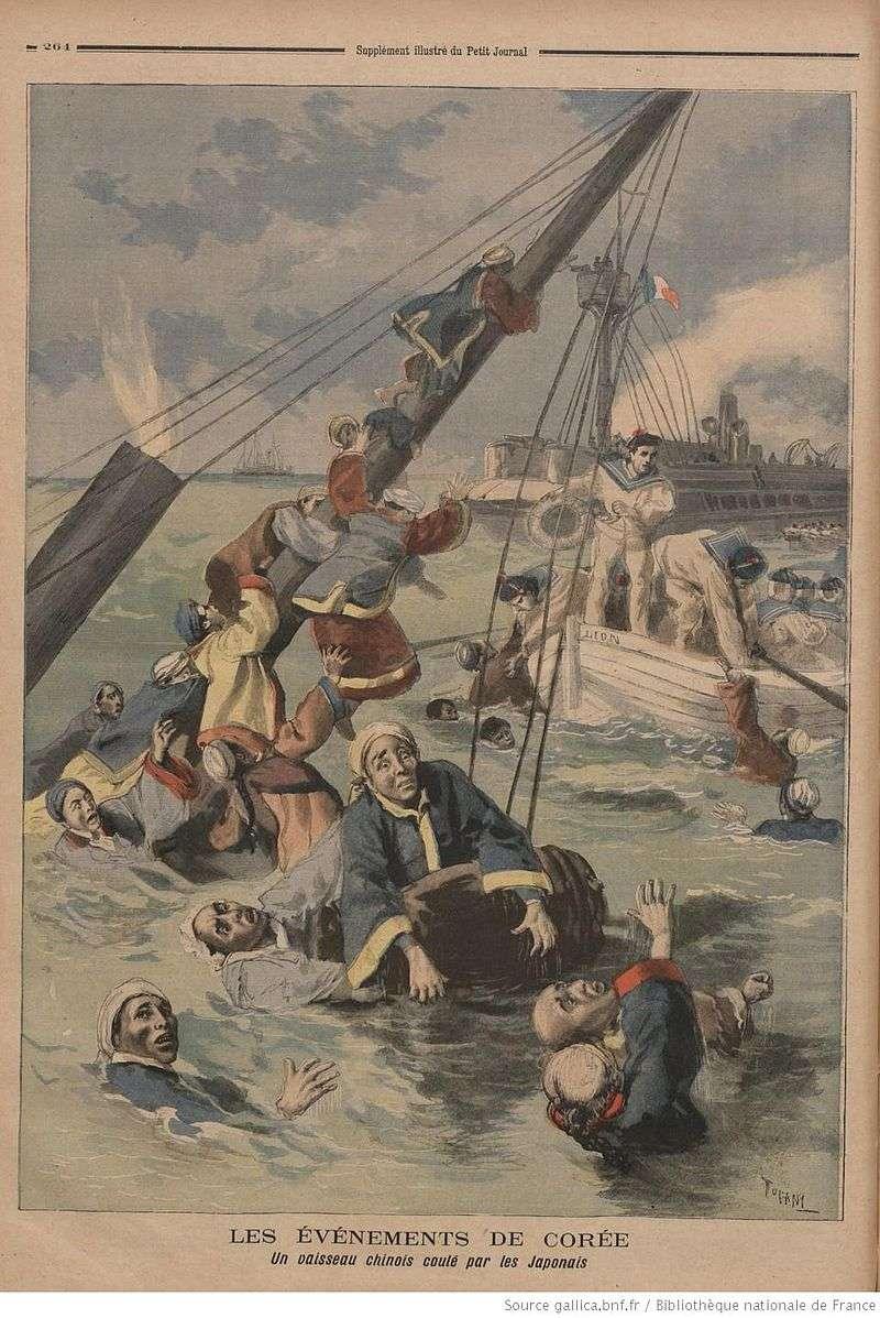 法國Le Petit雜誌:法國砲艦Le Lion號救援沉沒的高升號清軍人員。(維基百科)
