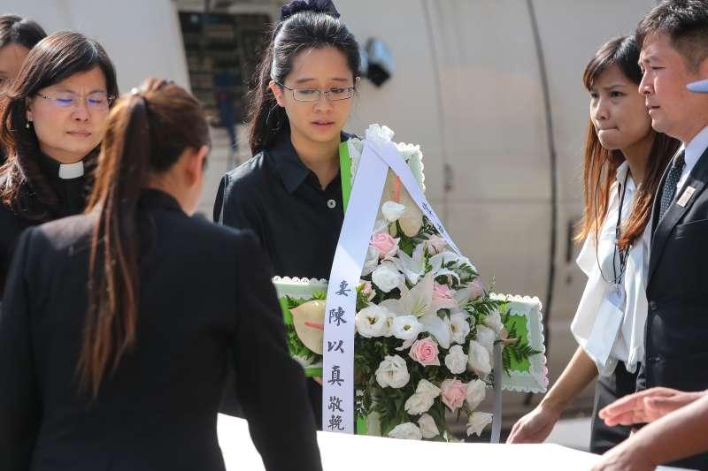 20180922-楊偉中妻子陳以真22日出席「楊偉中追思紀念會」。(顏麟宇攝)