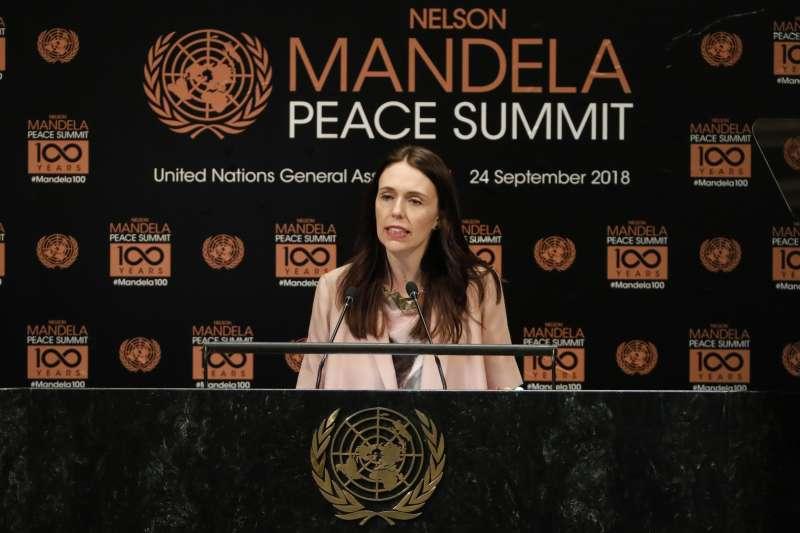 紐西蘭總理雅頓24日晚間在聯合國大會曼德拉和平高峰會發表演說(AP)