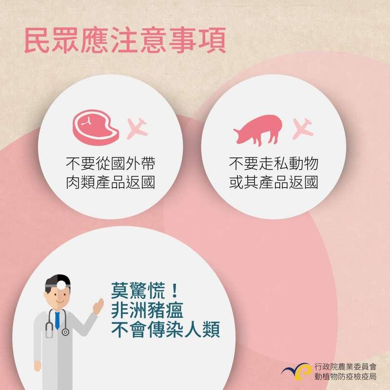 行政院農委會製作懶人包,說明民眾就非洲豬瘟的應注意事項。(行政院農委會)