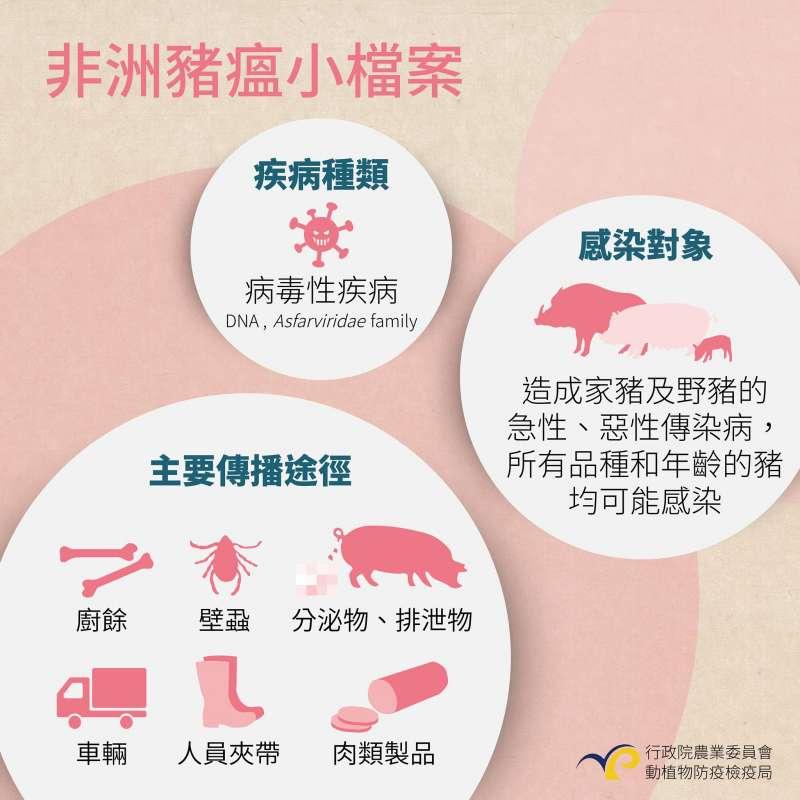 行政院農委會製作懶人包,說明非洲豬瘟的傳染途徑。(行政院農委會)