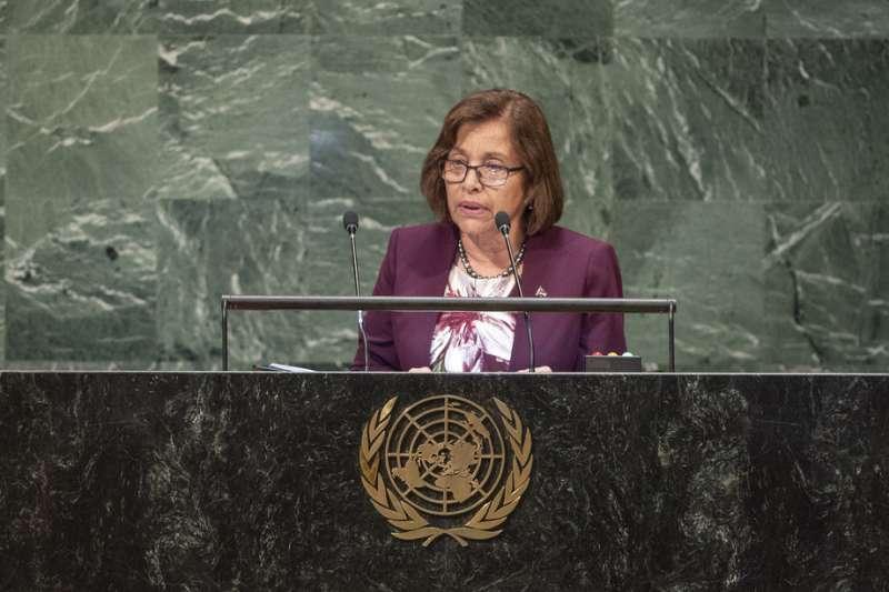 馬紹爾群島總統海妮(Hilda Heine)在聯合國大會總辯論中呼籲聯合國應盡速解決台灣2300萬人民被排除在聯合國體系以外的嚴肅問題,強調「台灣人民值得被公平對待」。(取自聯合國官網)