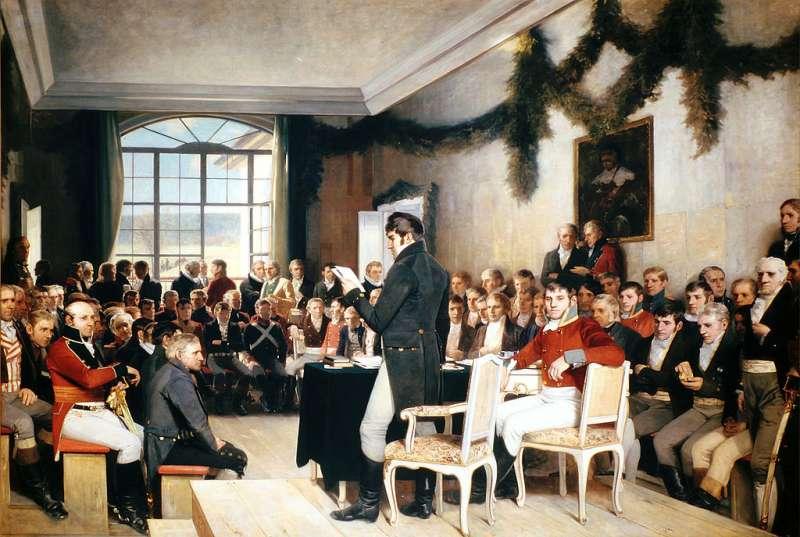 描繪挪威國民大會1814年制定憲法的畫作。(Wikipedia / Public Domain)