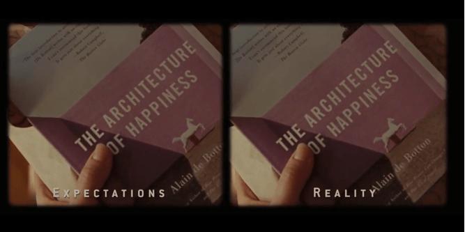 電影兩次展示狄波頓的著作《幸福建築》。(圖/好青年荼毒室)