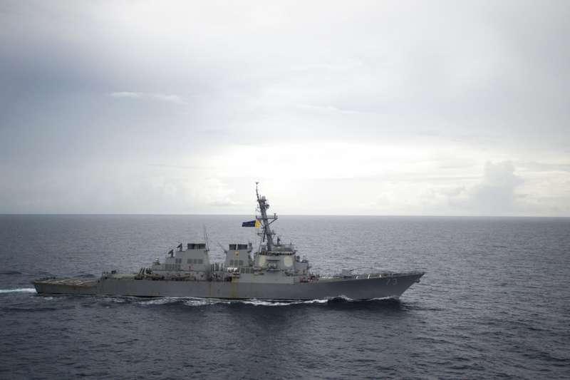 2018年9月30日,美國飛彈驅逐艦「迪凱特號」(USS Decatur)與中國軍艦對峙,險些相撞。圖為迪凱特號。(AP)