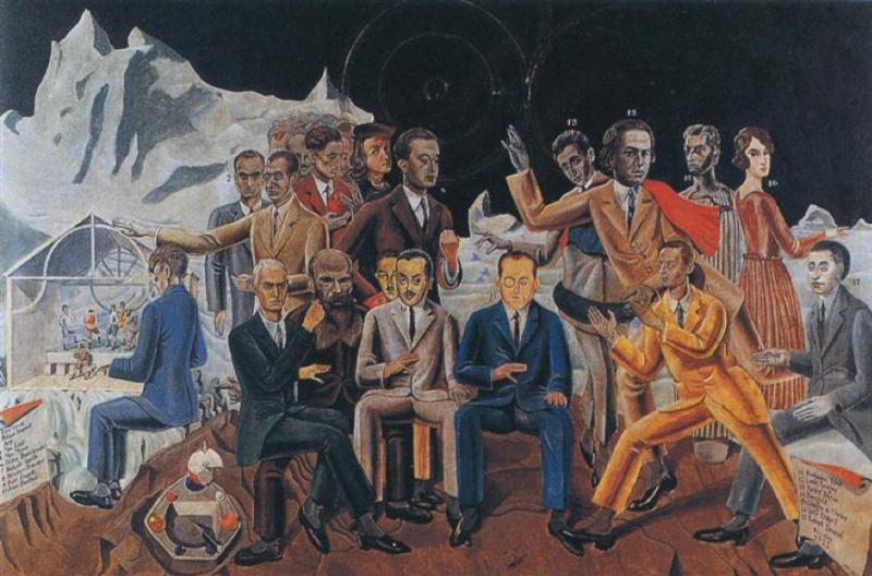 dada2000-5:圖三:1922年「達達」運動最盛時,由Max Ernst所畫的「朋友們的重聚」。收藏於Museum Ludwig。(取自Wikiart)