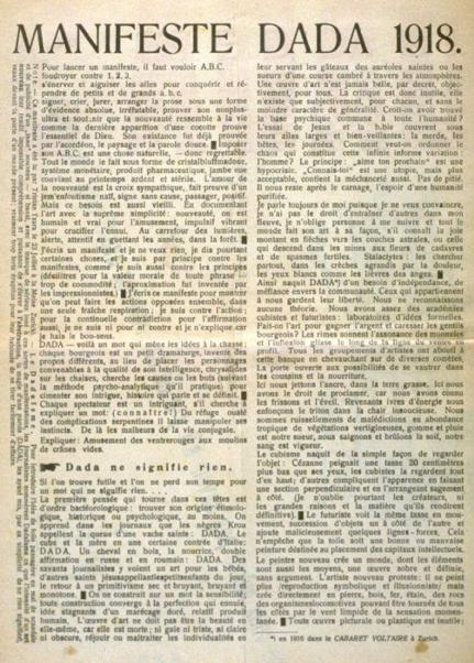dada2000-5:圖六:Tristan Tzara於1918年在瑞士發表的達達宣言。(作者提供)