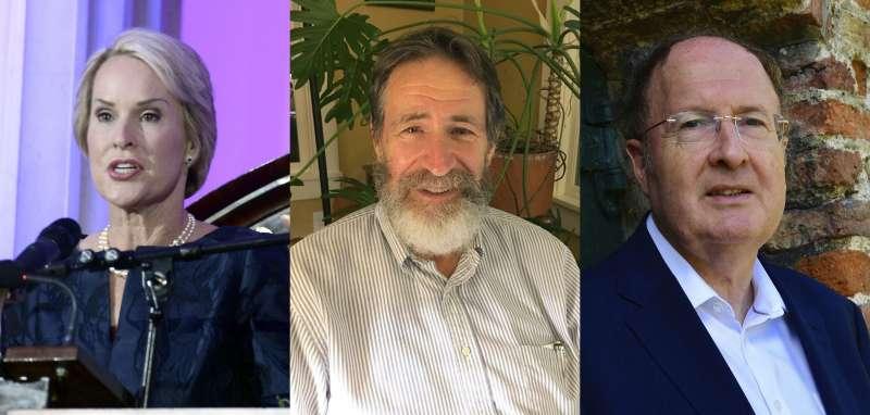 2018年諾貝爾化學獎得主,左起:美國科學家阿諾德(Frances H. Arnold)、美國科學家史密斯(George P. Smith)、英國科學家溫特(Sir Gregory P. Winter)。(AP)