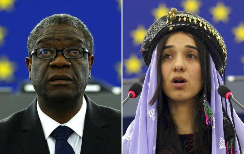 2018年諾貝爾和平獎得主:慕克維格(Denis Mukwege,左)與穆拉德(Nadia Murad,右)。(AP)