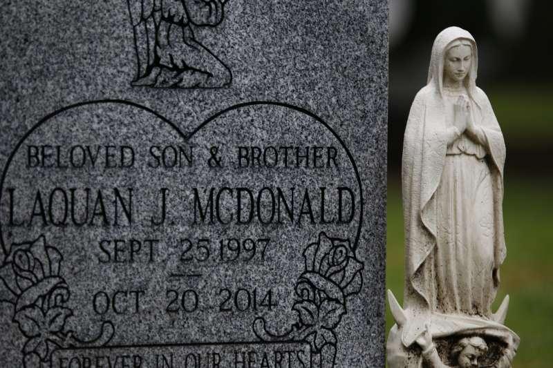 美國芝加哥17歲非裔青年麥克唐納之墓(美聯社)