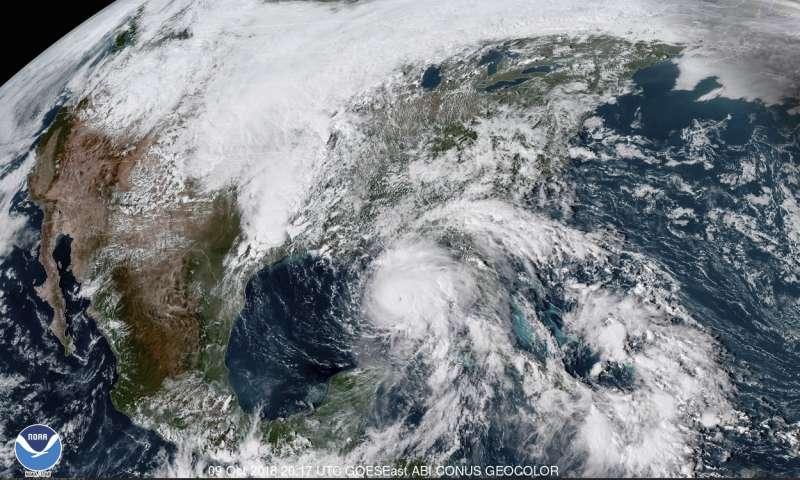 颶風「麥克」的衛星雲圖(美聯社)