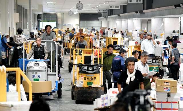 豐洲市場水產中盤賣場棟因三輪搬運車往來而顯得擁擠(圖/潮日本)