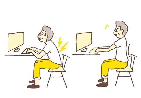 太專注打電腦,不知不覺下巴容易前伸,變成駝背姿勢;此外,執筆寫文案的工作,也容易出現低頭姿勢。(圖/華人健康網提供)