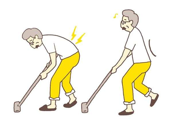 用吸塵器或掃帚清理地板時,經常出現低頭、彎腰的姿勢。(圖/華人健康網提供)