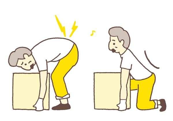 將地上的重物搬起來時,若只用手臂的力量,會對腰部造成極大的負擔。(圖/華人健康網提供)