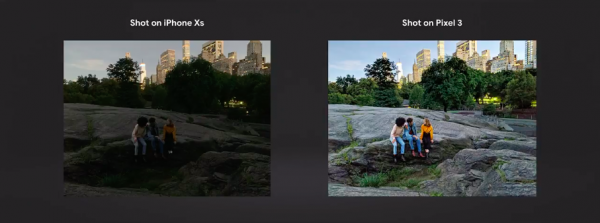 Pixel 3的Night Sight功能,號稱讓機器學習技術比閃光燈更強大,在無閃光燈下,拍出比iPhone XS更好的照片。(圖/Google直播YouTube截圖,數位時代提供)