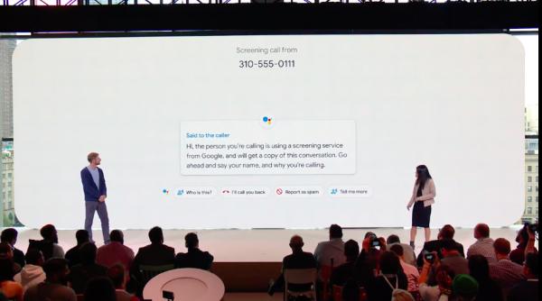 除了Duplex以外,Google新的Call Screen功能,可以讓機器人直接接聽未知來電號碼。(圖/Google直播YouTube截圖,數位時代提供)