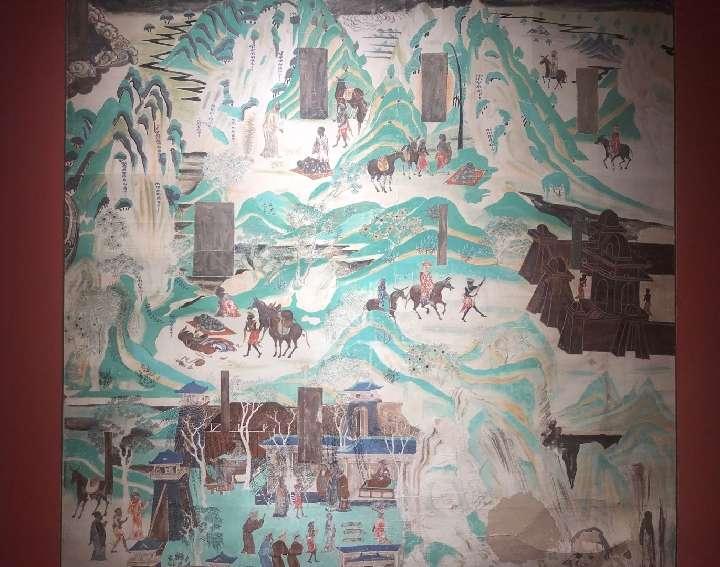 常書鴻臨摹的敦煌壁畫《化城喻品》。(新華社)