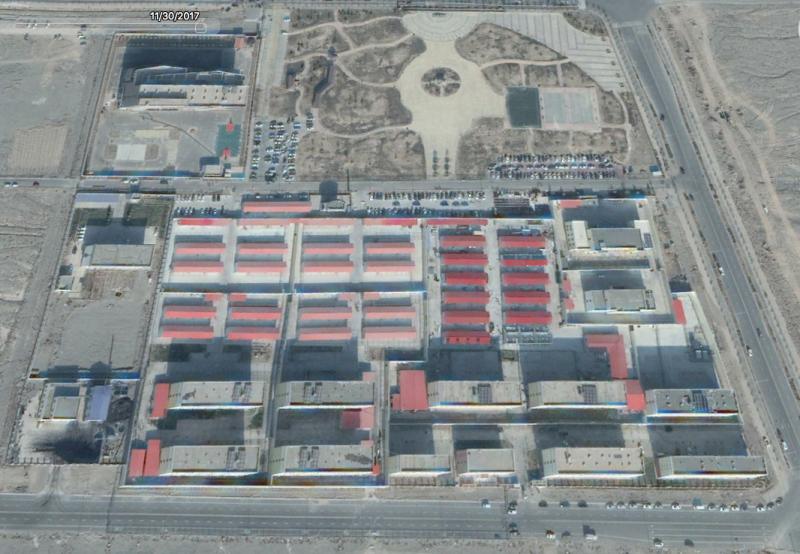 新疆再教育集中營衛星圖:阿圖什市的職業技能教育培訓服務中心。