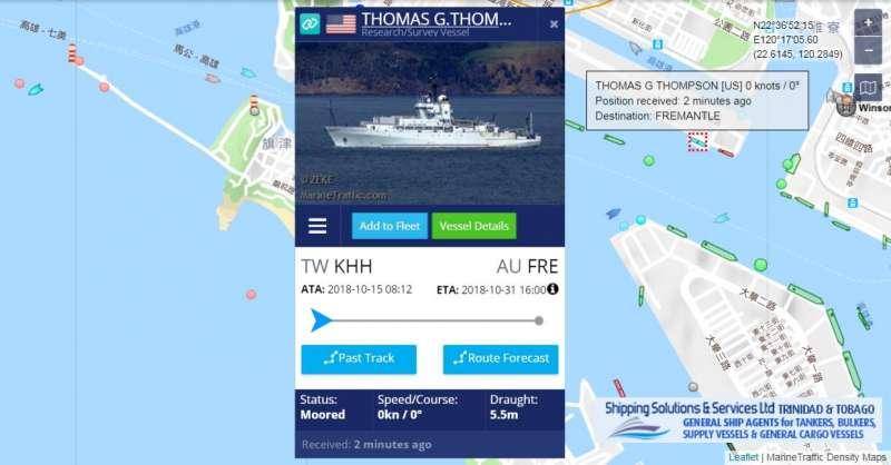 20181016-隸屬美國海軍研究辦公室、噸數超過3000噸的科學研究船RV Thomas G. Thompson(T-AGOR-23),昨天進入高雄港完成靠泊作業,船隻停靠在9號碼頭,預計後天出港轉往澳洲。(取自Lu Li-Shih臉書)