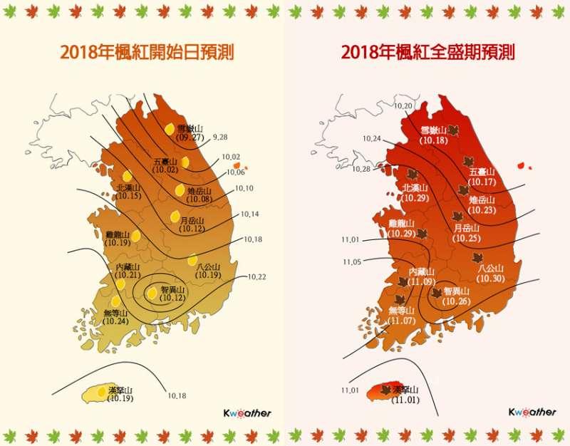 (2018韓國楓紅預測。圖/Kweather)