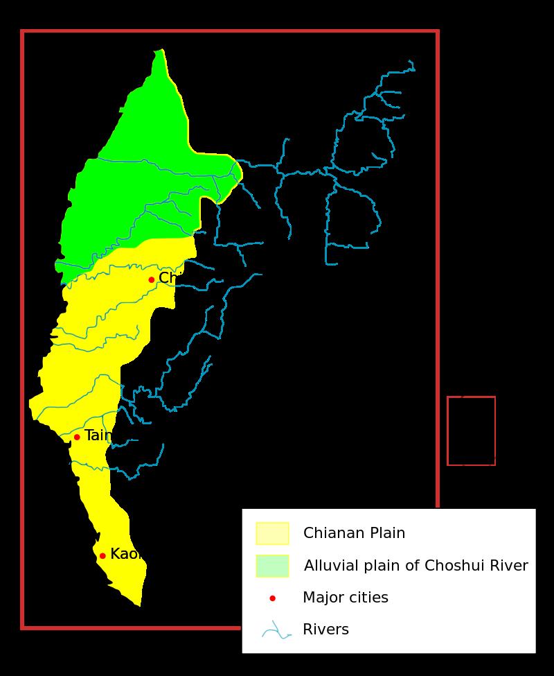 古代濁水溪沖積扇的範圍,圖上方綠色區塊為濁水溪沖積平原。(圖/想想論壇)